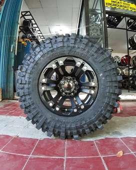 Velg Mobil R15 HSR + Ban Badak 33X10,5 R15 untuk Hardtop, MAZDA BT50