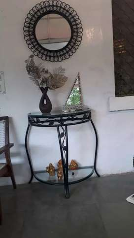 Wrought iron D table and a mirror
