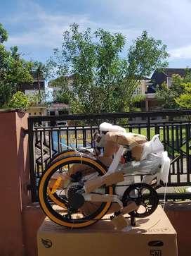 Sepeda Lipat Ecosmo 7 Speed RD Shimano Tourney (Putih atau Hitam)