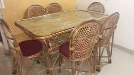 6 seater bamboo dining table