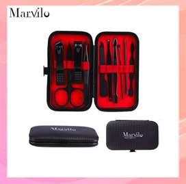 MARVILO Set Alat Menicure Pedicure 10pcs Hitam Original Murah NO COD