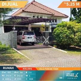 Dijual Rumah Villa Puncak Tidar Kota Malang Kawasan Elite ,Akses Mudah