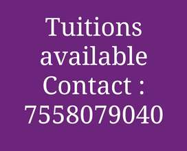 Offline and online Tuitions available for students