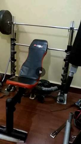 Heavy adjustable bench weight and rod and dumble