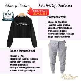 AM00337 Celana Setelan Satu set Sweater cewek dan celana joger
