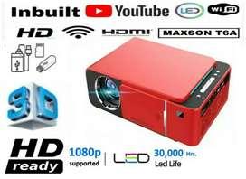 T6A WIFI MIRACAST 3200LM 1280P HD SMART LED PROJECTOR USB HDMI. AV