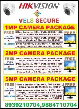 """SUPER SALE 2021 OFFER CCTV 2MP HD CAMERA HIKVISIONFREE 15"""" LED MONITOR"""