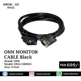 ONN Monitor Cable 6ft Long in Black Color