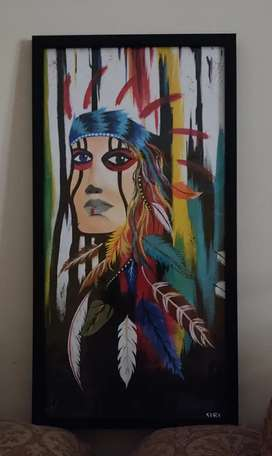 Framed wall hanging painting