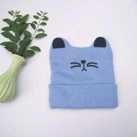 Topi Rajut Motif Kucing Untuk Anak Anak