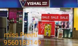 Required fresher male or female for Vishal mega mart .