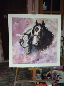 Lukisan 2 Kuda Acrylic on Canvas uk 80 X 80cm