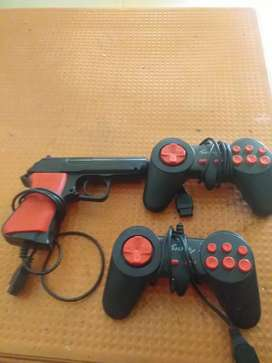 2 joystick of video game and gun