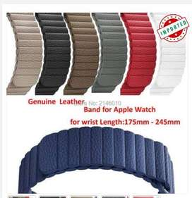 Genuine Leather Magnetic Closure Loop Apple Watch Band Wristband Strap