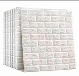 Wallpaper foam brick putih