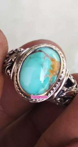 Batu pirus persia Telur asin mulus-Cincin Pirus Persia Serat emas
