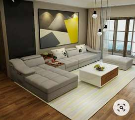 High density sofa set with table and puffy