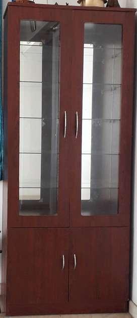 Glass door Cabinet; Use as Bar Cabinet, Book shelf or Showcase