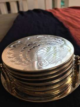 3 Silver FRENCH Decors - coaster; sunflower stand; Postmodern Ashtray