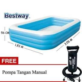 Kolam Renang Anak Bestway Ukuran 3.05mx1.83mx56cm Free Pompa Manual