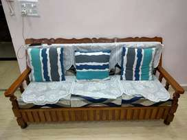5 seater wooden sofa