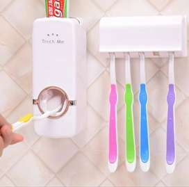 Plastic Tooth Brush Holder Automatic Toothpaste Dispenser Wall Mount