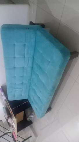 95 perc Like New Sofa bed kasur suede biru preloved second bekas murah