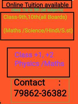 Online Tuition for (9th, 10tn, +1, +2)