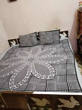 6 by 6 Double bed with mattress ( Bed is purely sag wood )