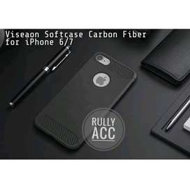 Viseaon Leather case Carbon For iPhone 6 6S dan 7  Softcase Hardcase