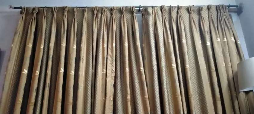Golden embroidered curtains available 0