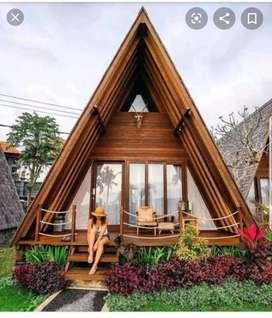 Rumah kayu segi tiga