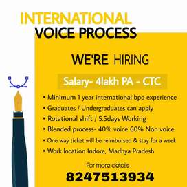 Urgently hiring for international voice process