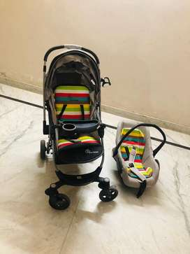Designer baby stroller with car seat carry cot