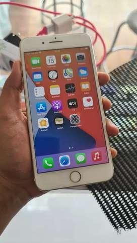 iphone 7+ 128gb gold ex ibox, kelengkapan unit cas, normal mulus