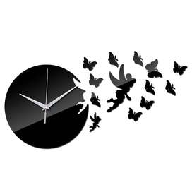 Designer's Flying Fairy Acrylic Mirror Clock For Living/Bed Room