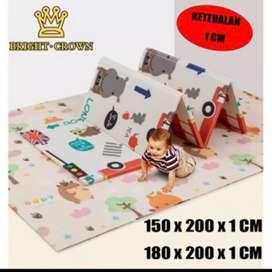 Playmat Premium Anak Bayi Lipat Tebal 1cm Double Pad ( Bonus Tas)