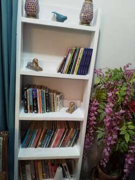 Ladder style pinewood made book shelf condition just like new