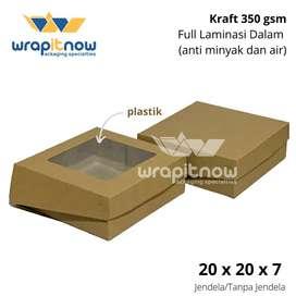Dus kraft box kotak 20x20x7 kotak kue roti tart hadiah tebal 350 gsm