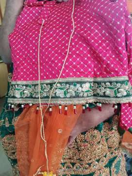 Heavy work lahnga with dupata choli for 14 year girl