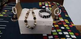 Black silk thread jewellery set
