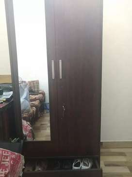 Wooden Almirah with mirror and show rack