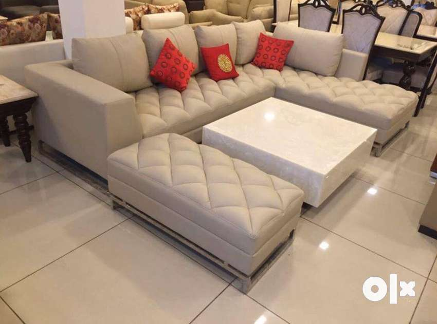 L shape sofa with table & couch 0