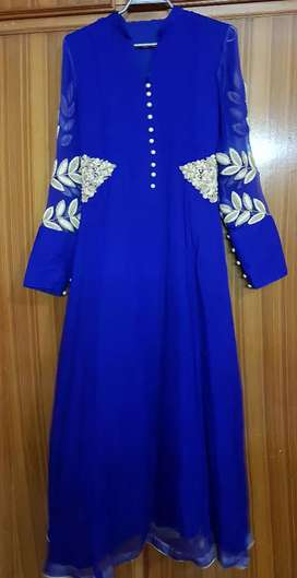 Royal Blue Dress. Pure chiffon.