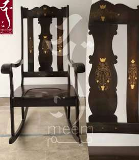 Hand Carved Rocking/Relaxing Chair Sheesham Wood