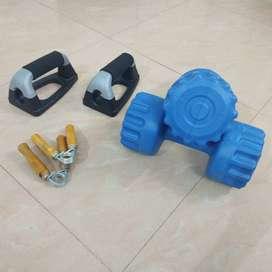 Hand grip pair, Push up bars and Plastic dumbel pair(Two 5Kgs)