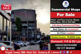 Commercial Shops for Sale in  Vogue Tower, MM Alam Rd, Gulberg III LHE