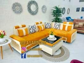 Sofa minimalis orange glow
