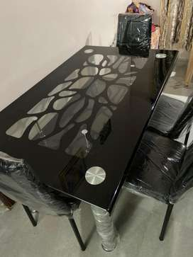 Glass top dining tables 4seater & 6seater,teapoys