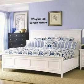 Tempat tidur modern cat duco minimalis, 160x200, bahan kayu jati tua